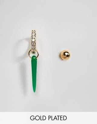 Orelia Gold Plated Single Shard Hoop Earring and Stud