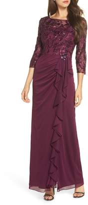 Alex Evenings Ruffle Detail Column Gown