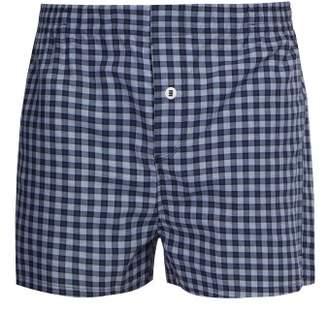 Hamilton And Hare - Checked Cotton Boxer Shorts - Mens - Navy