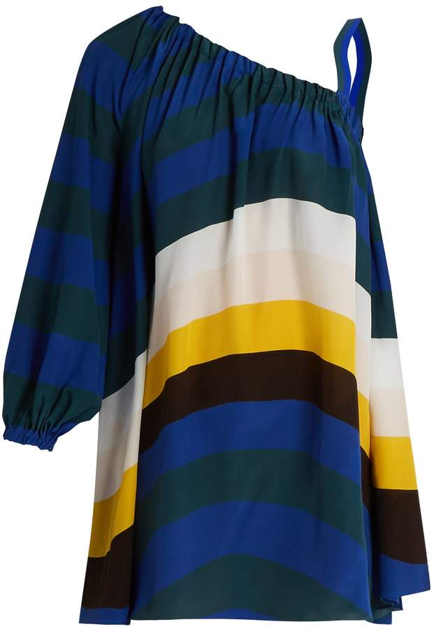 FENDI Wave-print one-shoulder short kaftan