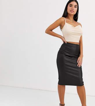 Asos DESIGN Petite leather look midi skirt