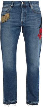 Alexander McQueen Floral-appliqué straight-leg jeans