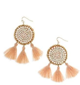 Women's Panacea Circle Tassel Drop Earrings $32 thestylecure.com