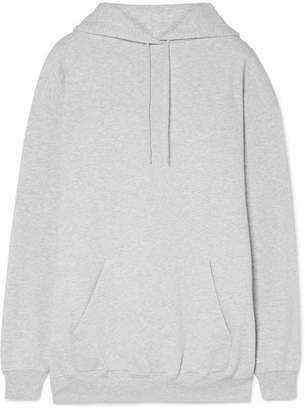 Balenciaga Oversized Printed Cotton-blend Fleece Hoodie - Light gray