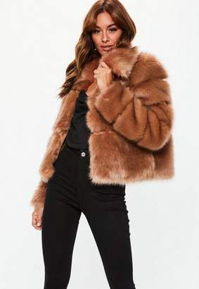 Missguided Camel Premium Cropped Faux Fur Jacket