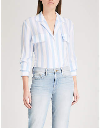 Frame Pocket-detail striped silk shirt