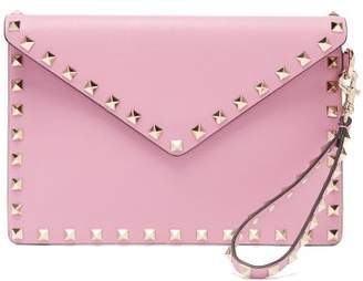 Valentino Rockstud Leather Envelope Clutch - Womens - Pink