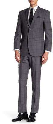 Perry Ellis Gray Windowpane Two Button Notch Lapel Trim Fit Suit