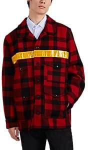 Junya Watanabe Comme des Garçons Men's Cruiser Reflective-Trimmed Plaid Wool Jacket - Red