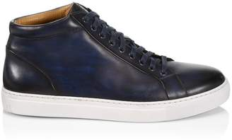 Saks Fifth Avenue BY MAGNANNI Burnished Leather Lace-Up Sneakers