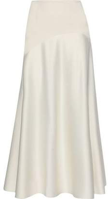 SOLACE London Praia Crepe-paneled Satin Maxi Skirt