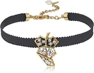 Badgley Mischka Pave Leaf Ribbon Choker Necklace