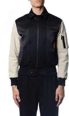Saint Laurent Embroidered Bomber Jacket In Black Military Cotton