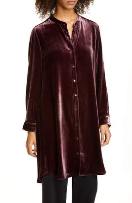Eileen Fisher Mandarin Collar Velvet Tunic Top