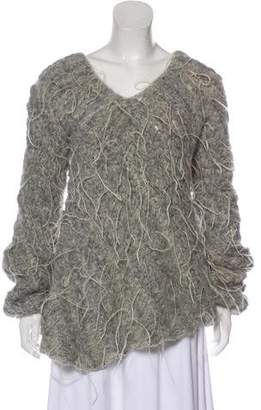 Nina Ricci Ostrich Feather-Trimmed Alpaca & Mohair Sweater w/ Tags