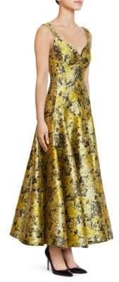 Erdem Verna Floral Garden Jacquard Tea Dress
