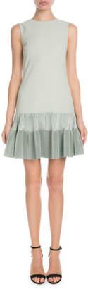 Victoria Beckham Victoria Sleeveless A-Line Crepe Dress w/ Flounce Hem