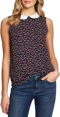 CeCe Marrakesh Lace Ditsy Print Collared Sleeveless Top
