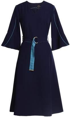 Emily Lovelock Dress With Contrast Trim Navy