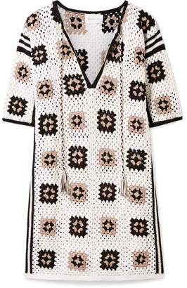 Eleven Paris SIX Tia Crocheted Pima Cotton Mini Dress - Ivory