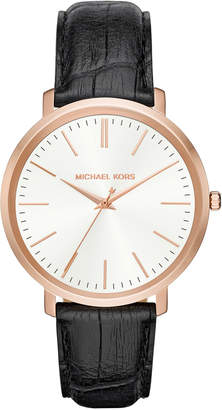 MICHAEL Michael Kors 41.5mm Jaryn Leather Watch, Black