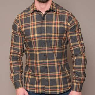 Blade + Blue Grey Heather, Orange & Khaki Brushed Cotton Plaid Shirt - Oliver
