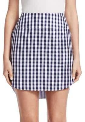 Monse Gingham Shirttail Hem Mini Skirt