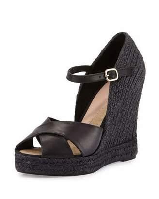 Andre Assous Giulia Leather Espadrille Wedge Sandal, Black $295 thestylecure.com