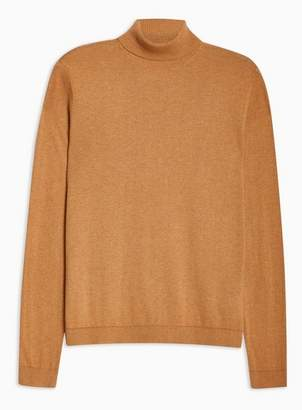Topman Mens Brown Toffee Marl Essential Turtle Neck Sweater