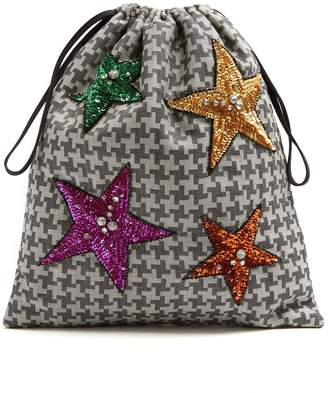 ATTICO Sequin-embellished hound's-tooth drawstring pouch