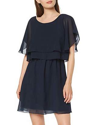 Vila Women's 14039822 Crew Neck Short Sleeve Dress - Blue