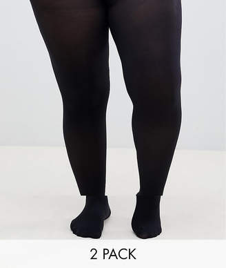 Asos DESIGN Curve 2 pack 60 denier tights in super stretch fit