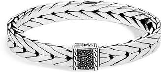 John Hardy Men's Sterling Silver Modern Chain Medium Bracelet with Black Sapphire, 9mm