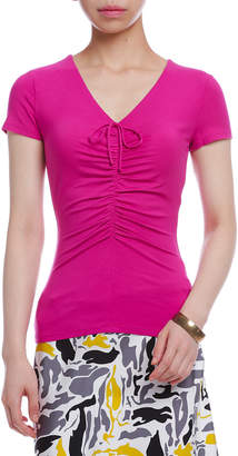 Paule Ka ストレッチ フロントギャザー Vネック 半袖Tシャツ ピンクパープル 003