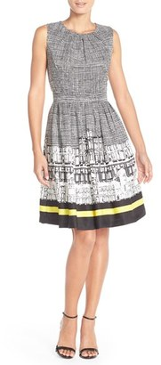 Ellen Tracy Print Twill Fit & Flare Dress $118 thestylecure.com