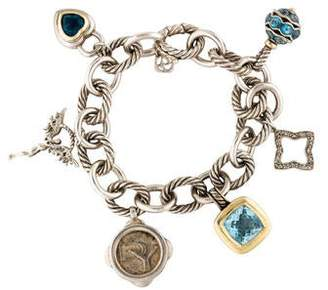 David Yurman Topaz & Diamond 25th Anniversary Charm Bracelet