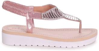 Gold Toe Linzi KANSAS - Rose Post Diamante Embellished Sandal With Memory Foam Inner