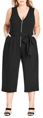 City Chic Plus Straight-Leg Fit-&-Flare Jumpsuit