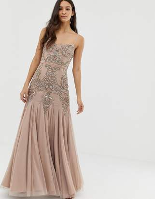 fd49b5b3d6b Dolly   Delicious cami embellished maxi dress with fishtail in mauve
