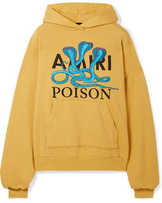 Amiri Embroidered Printed Cotton-jersey Hoodie - Mustard