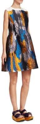 Marni Feather Print Fit-and-Flare Dress