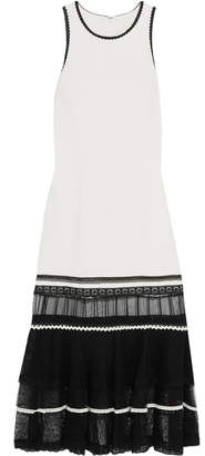 Jonathan Simkhai - Ruffled Lace And Tulle-trimmed Crepe Midi Dress - White $845 thestylecure.com