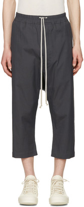 Rick Owens Grey Cropped Drawstring Trousers $515 thestylecure.com