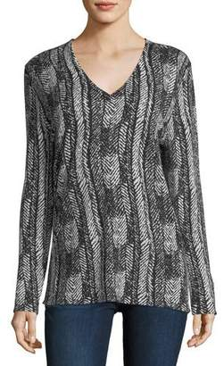 Neiman Marcus V-Neck Vertical Arrow-Print Superfine Cashmere Tunic