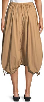 Donna Karan Pull-On Cotton Trapeze Midi Skirt w/ Drawstrings