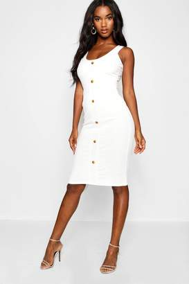 boohoo Button Detail Ribbed Midi Dress