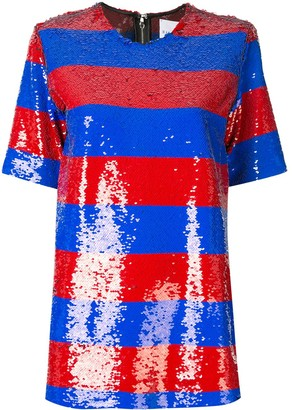Halpern striped sequin T-shirt