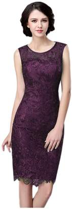 Albrose Illusion Neckline Lace Mother of The Bride Dresses Knee Length US Eggplant