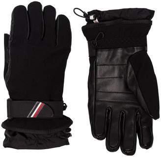 Moncler black panelled logo ski gloves