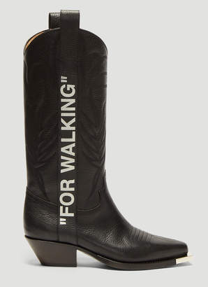 Off-White Off White For Walking 40 Leather Western Boots in Black